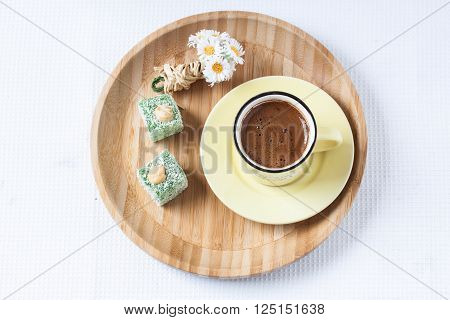 Turkish coffee and Turkish delight with spring style