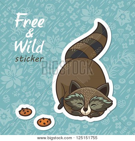 Sticker of cartoon cute character raccoon. Funny little raccoon playing on the meadow. Endless floral background. Free and Wild sticker. Vector illustration