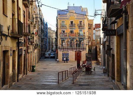 Tarragona Spain- March 23 2016: Street in old town of Tarragona. Catalonia Spain