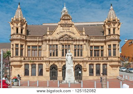 PORT ELIZABETH, SOUTH AFRICA - FEBRUARY 27, 2016: The historic Public Library on Market Square in Port Elizabeth was built in 1901 and is a national monument