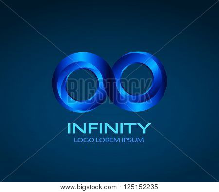Vector Infinity logo/icon. Original color is blue, but you can easily change color (use Recolor Artwork in illustrator). Vector EPS 10.