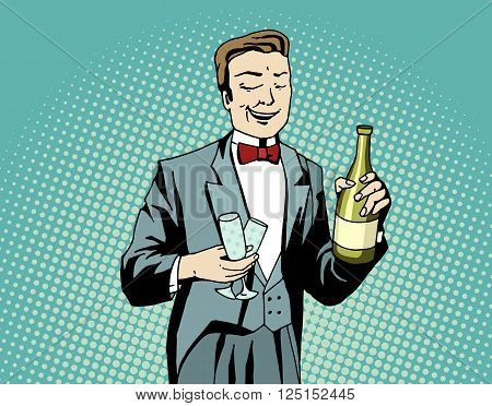 Pop art waiter with champagne and wineglasses at work. Comic styled man prepare for celebration. Retro styled vector illustration.