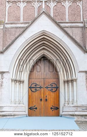 PORT ELIZABETH, SOUTH AFRICA - FEBRUARY 27, 2016: Entrance of the Cathedral Church of St Mary the Virgin in Port Elizabeth