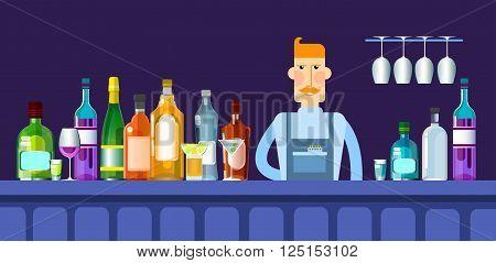 Bar Counter Barmen With Alcohol Drink Glasses Bottle Flat Vector Illustration