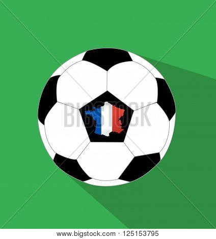 Soccer ball and a France map with France flag
