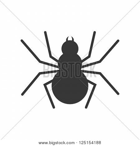 Spider icon - vector illustration on white background. Simple black sign of spider in flat design.