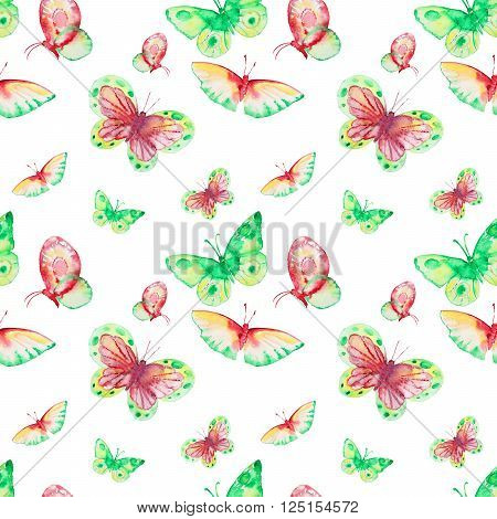 Seamless watercolor pattern with green butterfly. Vintage seamless pattern with butterfly. Watercolor paint. Butterfly pattern for wallpaper design. Watercolor seamless background.