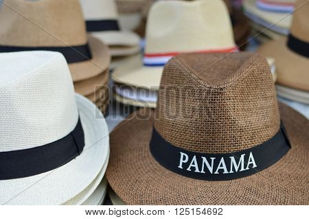 Panama hats in Casco Viejo district of Panama City, Panama, Central America. Shallow DOF