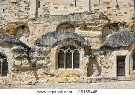 The wall of the monolithic church in Saint-Emilion France
