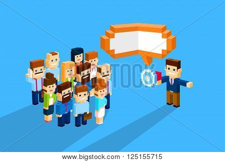 Businessman Boss Hold Megaphone Loudspeaker Colleagues Business People Team Leader Group Businesspeople Vector Illustration