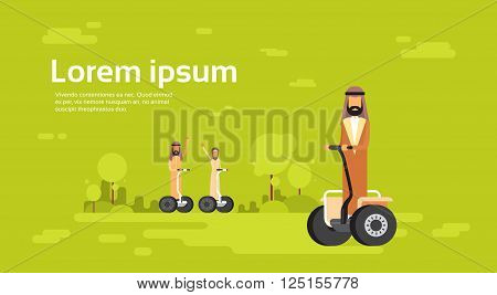 Arab People Group Arabic Man Woman Ride Electric Scooter, Segway, Modern Personal Transport Banner Copy Space Flat Vector Illustration