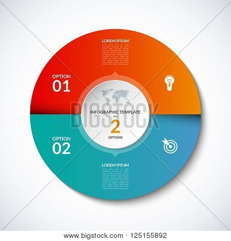 Vector infographic circle template with 2 steps, parts, options, sectors, stages. Can be used for  for graph, pie chart, workflow layout, cycling diagram, brochure, report, presentation, web design.