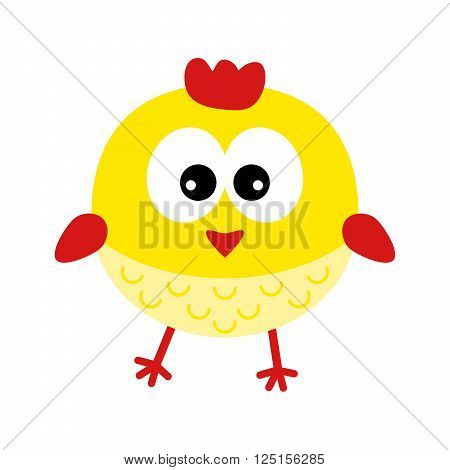 Yellow easter chicken on a white background. Animal cartoon design. Emblem with cute yellow chicken - vector illustration.