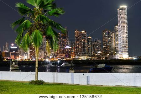 Panama City Panama - August 29 2015: Panama city skyline is seen at night on August 29 2015 in Panama Central America.