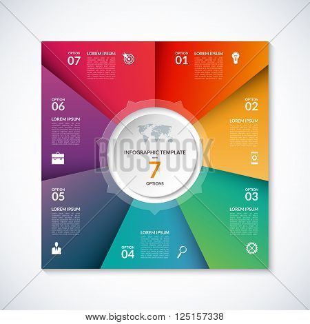 Vector infographic square template. Banner with 7 steps, stages, options, parts. Can be used for diagram, graph, pie chart, brochure, report, business presentation, web design.