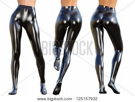 Set of sexy slim female legs in black latex stockings. Conceptual fashion art. Shiny pantyhose. Seductive candid pose. 3D render, photorealistic image.
