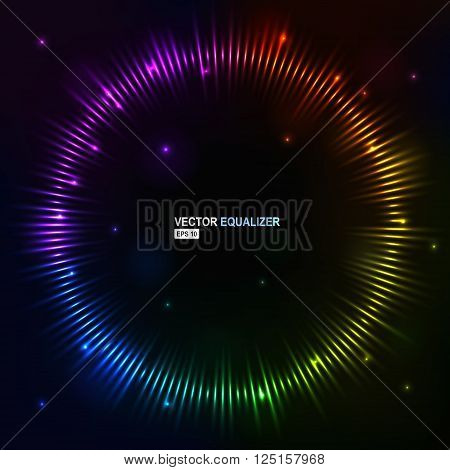 Vector illustration digital spectrum equalizer club studio dance music. Sound wave futuristic display.