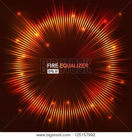 Vector illustration digital fire red equalizer club studio dance music. Sound wave futuristic display.