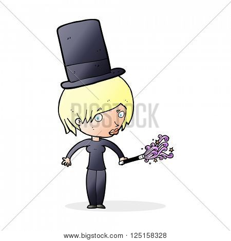 cartoon female magician