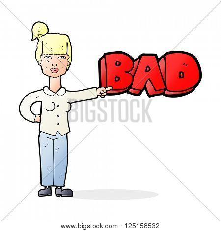 cartoon woman making a judgement
