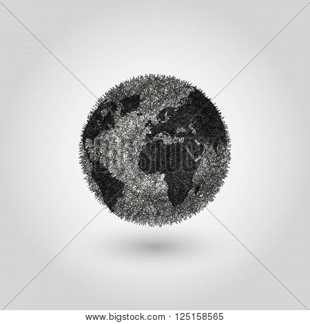 Abstract Globe Planet Earth, Concept Global Pollution Planet, World Globalization Grey Background, B