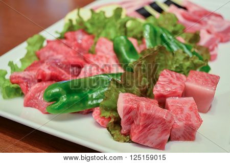 Wagyu premium japanese beef ready for grill yakiniku japanese food