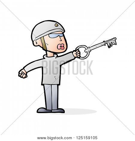 cartoon security guy with key