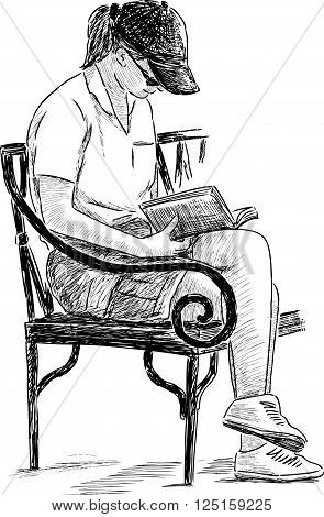 Vector drawing of an young girl reads on a park bench.