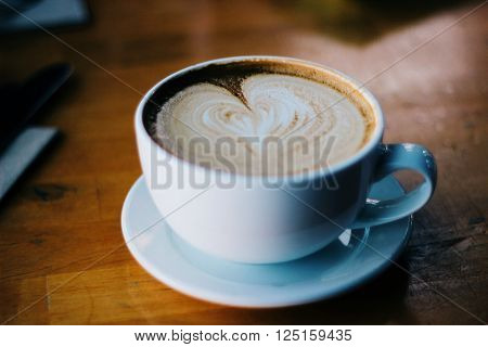 Coffee cup, White Background, Bowl, Drawings on crema, Liquid ** Note: Soft Focus at 100%, best at smaller sizes