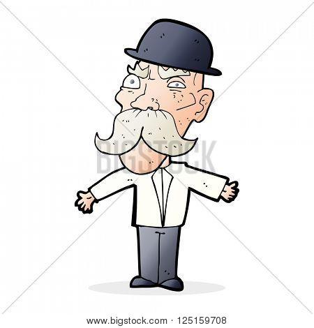 cartoon angry old british man