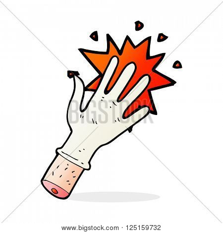 cartoon snapping rubber glove symbol
