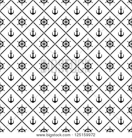 Ship Anchors And Yacht Boat Helm Rudder With Crossing Sea Ropes Seamless Pattern. Black And White.