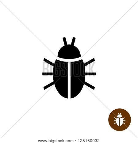Bug Black Silhouette Icon. Insect Simple Symbol.