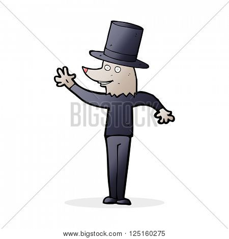 cartoon waving werewolf wearing top hat