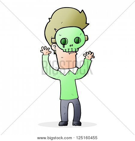 cartoon man in skull mask