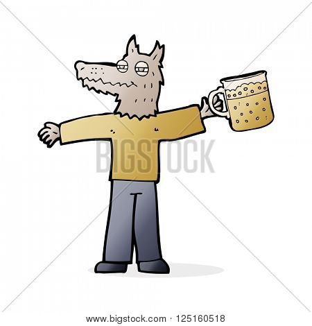 cartoon wolf man drinking beer