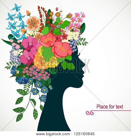 Beautiful profile young woman with tropicl flowers in heir hair. Vector illustration greeting card beauty and fashion.