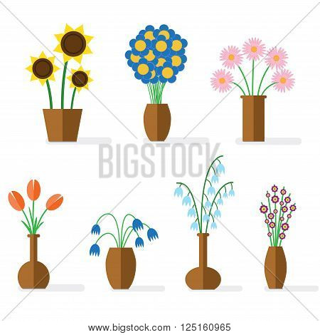 Flat illustration with shadows. Colorful flowers in brown clay vases.