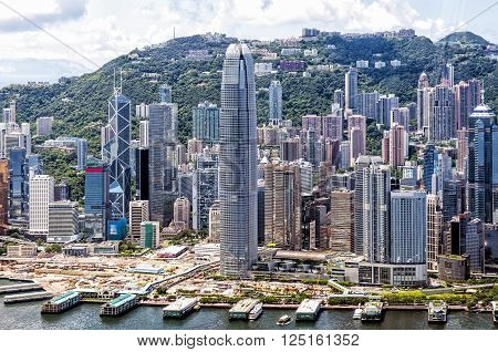 Hong Kong, China - August 23, 2011: Aerial view of Hong Kong Central District, China. Central is the business district of Hong Kong and it is the area where many multinational have their headquarters.
