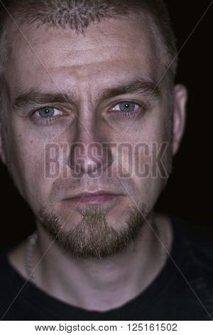 closeup portrait of old man in studio