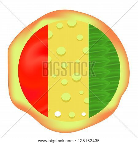 Hot Pizza Isolated on White Background. Baked Pizza is One of Fast Food Dishes. Ingredients for Baking Pizza.