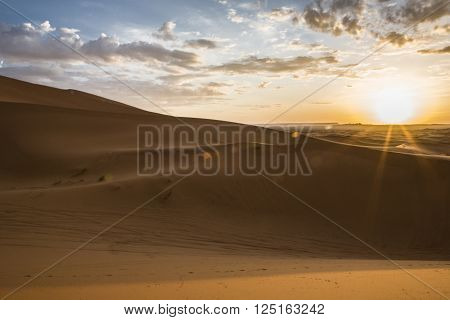 Sunrise over Erg Chebbi dunes Merzouga Morocco