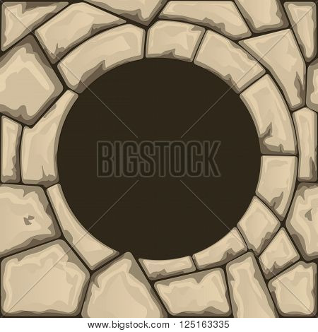 Round stone frame with stone seamless pattern