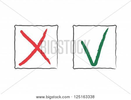 Check Mark Icons. Tick and cross red and green signs in frames isolated on white background. Symbol vote survey exam question. Right or wrong choice. Brush grunge hand drawing. Vector illustration