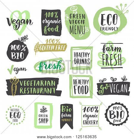 Fresh healthy organic vegan food labels and tags. Vector hand drawn illustration. Vegetarian eco green concept