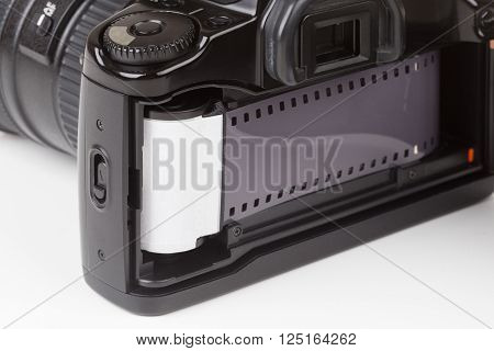 Analog SLR camera with the inserted film
