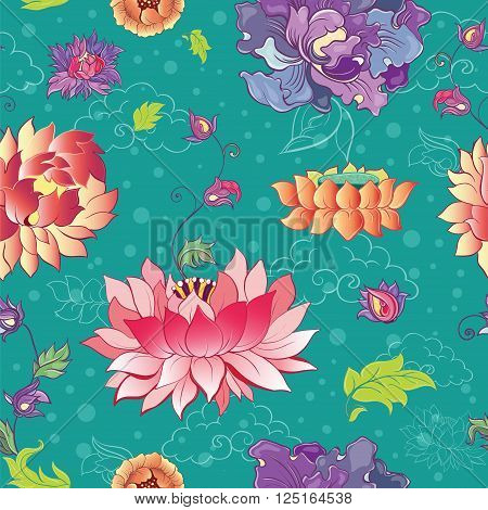 Seamless vector pattern with lotus flowers peonies and chrysanthemums. Oriental asian motif