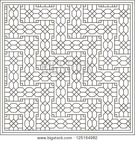Coloring book for kids. Geometric interwoven pattern. Vector. Black contour isolated on a white background.