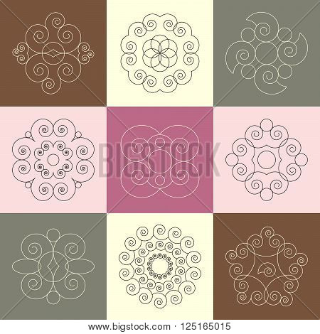 vector set of nine round abstact snail spiral calligraphic ornaments - square background in pastel colors pink and brown