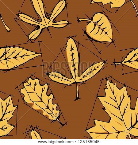 Collection of leaves. Colorful hand drawn vector stock illustration
